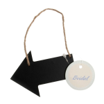 B2147 Sign: Wooden Arrow with Jute String: Black